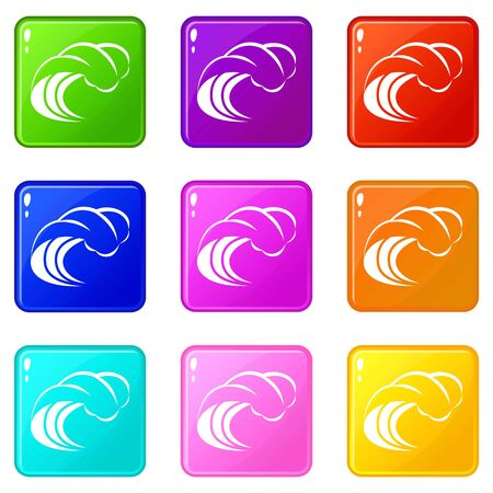 Wave with foam icons set 9 color collection isolated on white for any design
