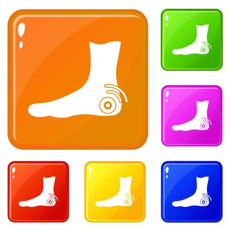 Foot heel icons set vector color Illustration