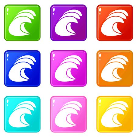High ocean waves icons set 9 color collection isolated on white for any design Illustration