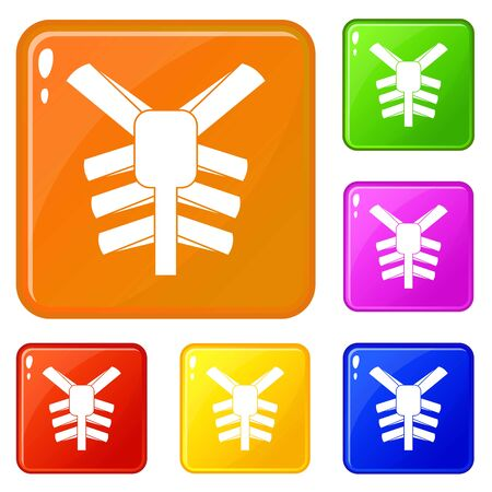 Human thorax icons set vector color