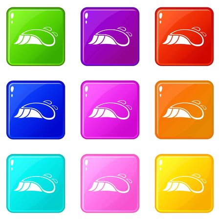 Small ocean wave icons set 9 color collection isolated on white for any design Illustration