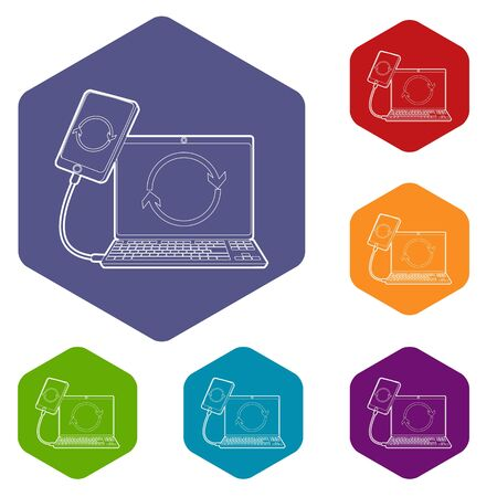 Gadgets synchronized operation icon. Outline illustration of gadgets synchronized operation vector icon for web design