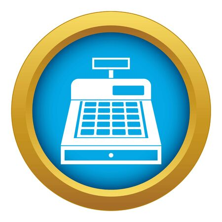 Cash register icon blue vector isolated on white background for any design