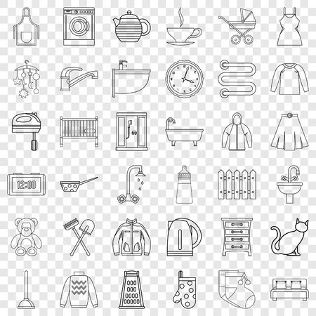 Plumber icons set, outline style Illustration