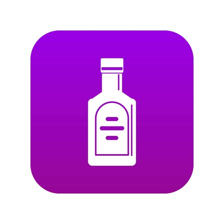 Bottle of whiskey icon digital purple