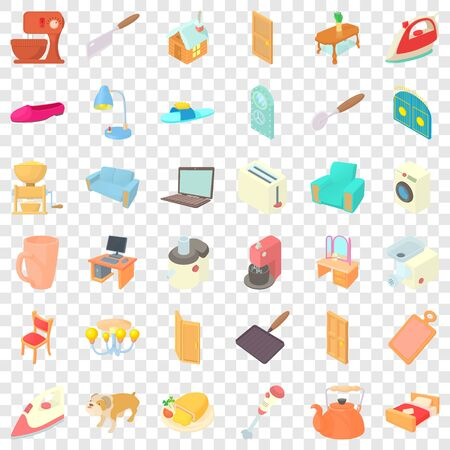 House activity icons set. Cartoon style of 36 grille vector icons for web for any design