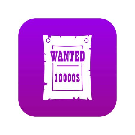 Vintage wanted poster icon digital purple for any design isolated on white vector illustration