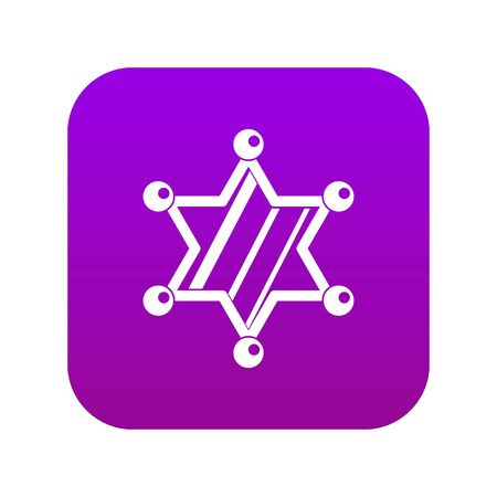 Sheriff star icon digital purple for any design isolated on white vector illustration Illustration