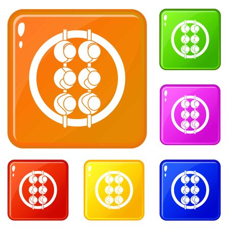 Asian shashlik icons set vector color 向量圖像