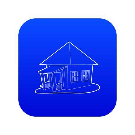 Bungalow icon blue vector Standard-Bild - 127912365