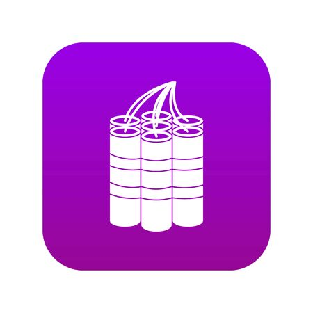 Dynamite sticks icon digital purple for any design isolated on white vector illustration