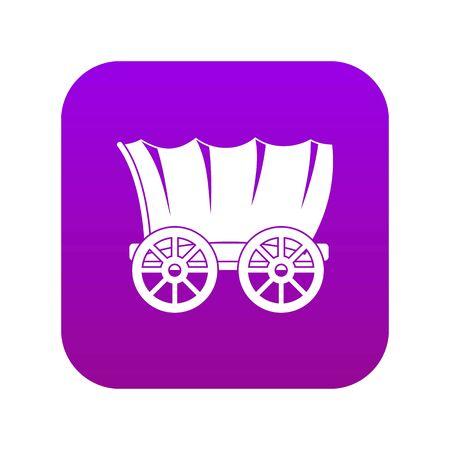 Ancient western covered wagon icon digital purple Vector Illustratie