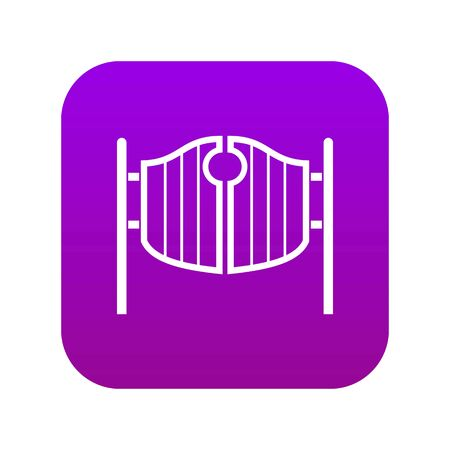 Vintage western swinging saloon doors icon digital purple for any design isolated on white vector illustration Illustration