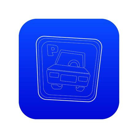 Car parking sign icon blue vector isolated on white background