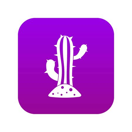 Cactus icon digital purple for any design isolated on white vector illustration