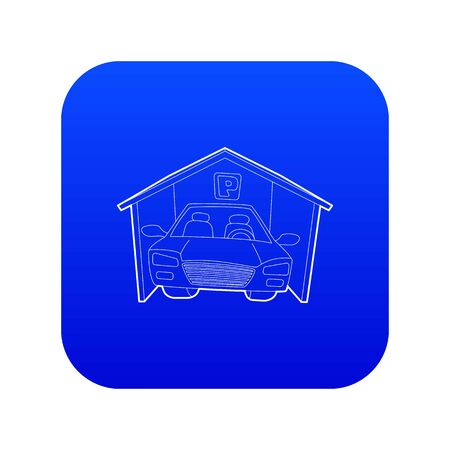 Covered car parking icon blue vector isolated on white background