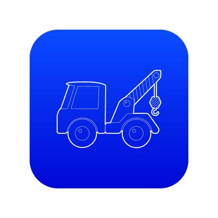 Car towing truck icon blue vector isolated on white background
