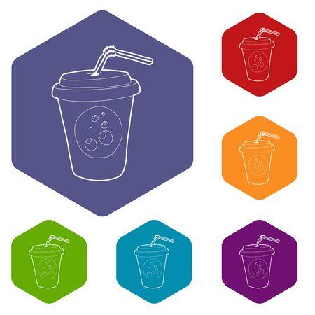 Plastic cup of limonade icon. Outline illustration of plastic cup of limonade vector icon for web design