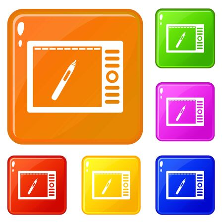 Graphics tablet icons set collection vector 6 color isolated on white background
