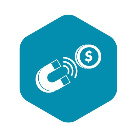 Magnet with coin icon. Simple illustration of magnet with coin vector icon for web 向量圖像
