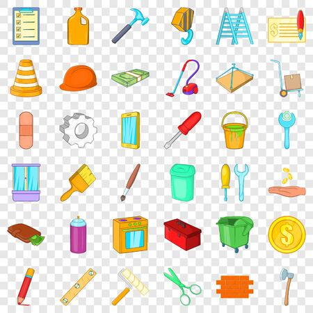 Pencil icons set, cartoon style