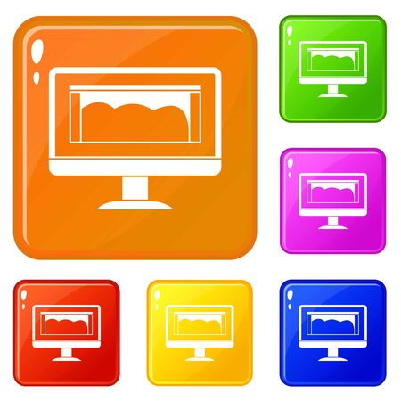 Drawing monitor icons set vector color