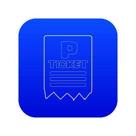 Biglietto di parcheggio icona vettore blu isolato su sfondo bianco Vettoriali