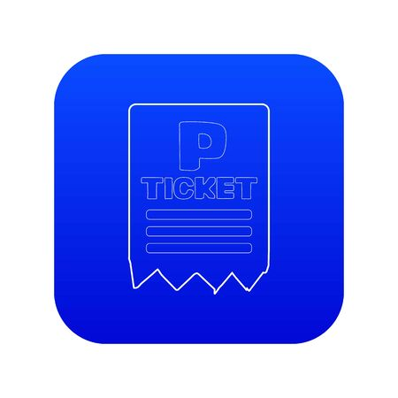 Parking ticket icon blue vector isolated on white background