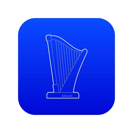 Harp icon blue vector
