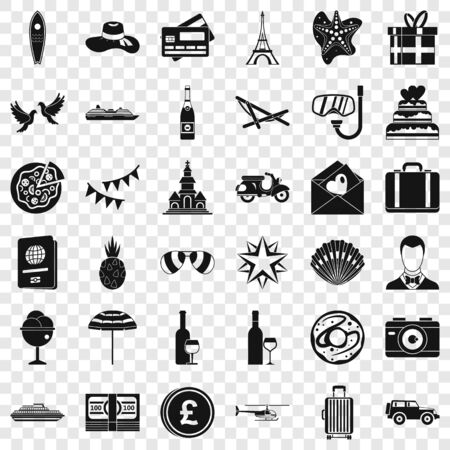 Celebration icons set, simple style Illustration