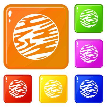 Far away planet icons set vector color