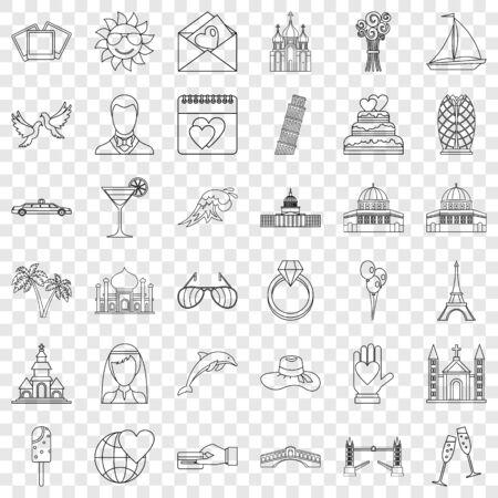 Honeymoon icons set, outline style