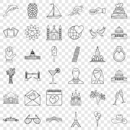 Love icons set, outline style