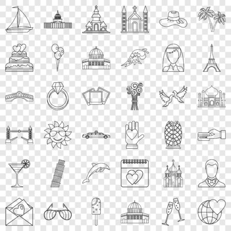 Romance icons set, outline style