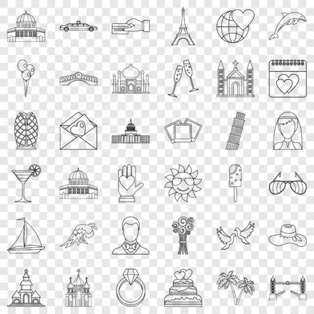 Travel icons set, outline style Иллюстрация