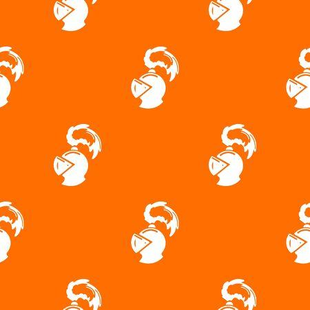 Warrior knight helmet pattern vector orange