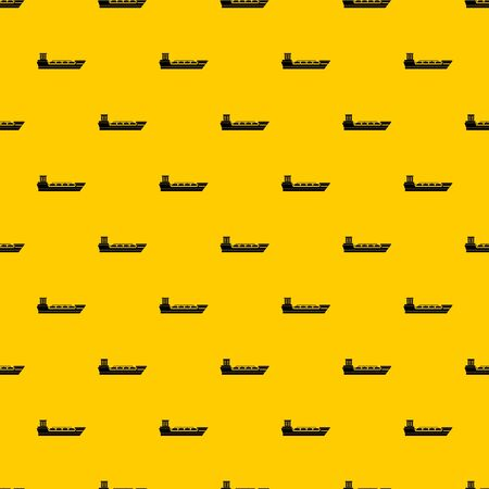 Oil tanker ship pattern seamless vector repeat geometric yellow for any design Illustration