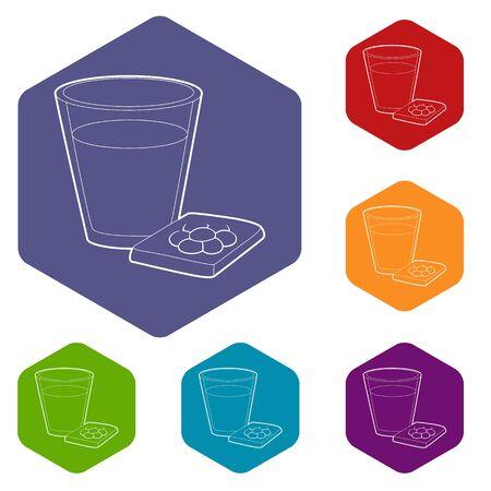 Glass of water and sleeping pills icon. Outline illustration of glass and sleeping pills vector icon for web design Ilustração
