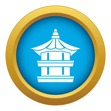 Traditional korean pagoda icon blue vector isolated on white background for any design