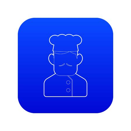 Chef cook icon blue vector isolated on white background