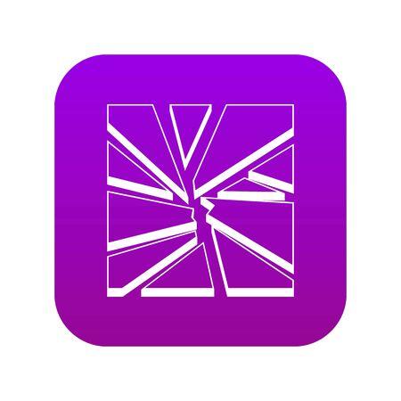 Broken glass icon digital purple