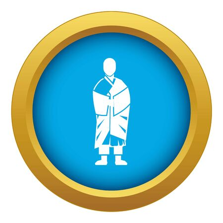 Buddhist monk icon blue vector isolated