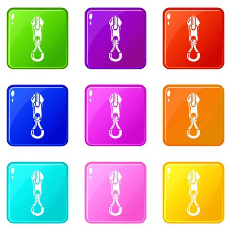 Fastener zip icons set 9 color collection