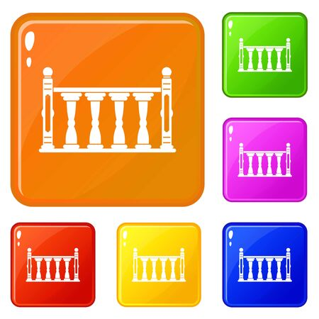 Balustrade icons set vector color