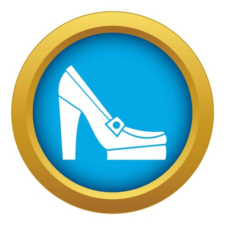 Women shoes on platform icon blue vector isolated on white background for any design