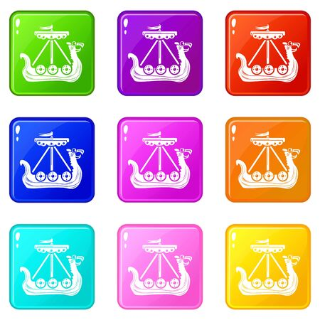 Military ship icons set 9 color collection