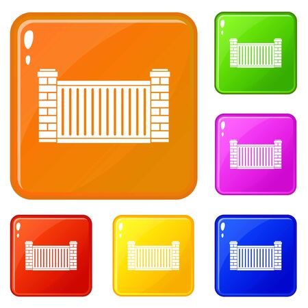 Home fence icons set vector color Illustration