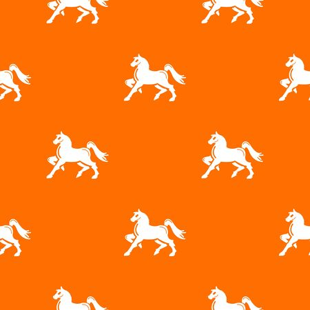 Knight horse mascot pattern vector orange