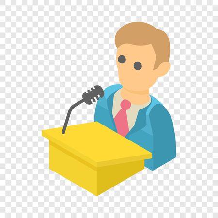 Man speaker icon. Isometric illustration of man speaker vector icon for web