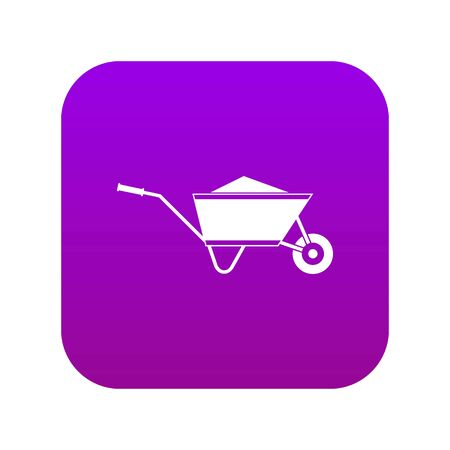 Wheelbarrow with sand icon digital purple for any design isolated on white vector illustration